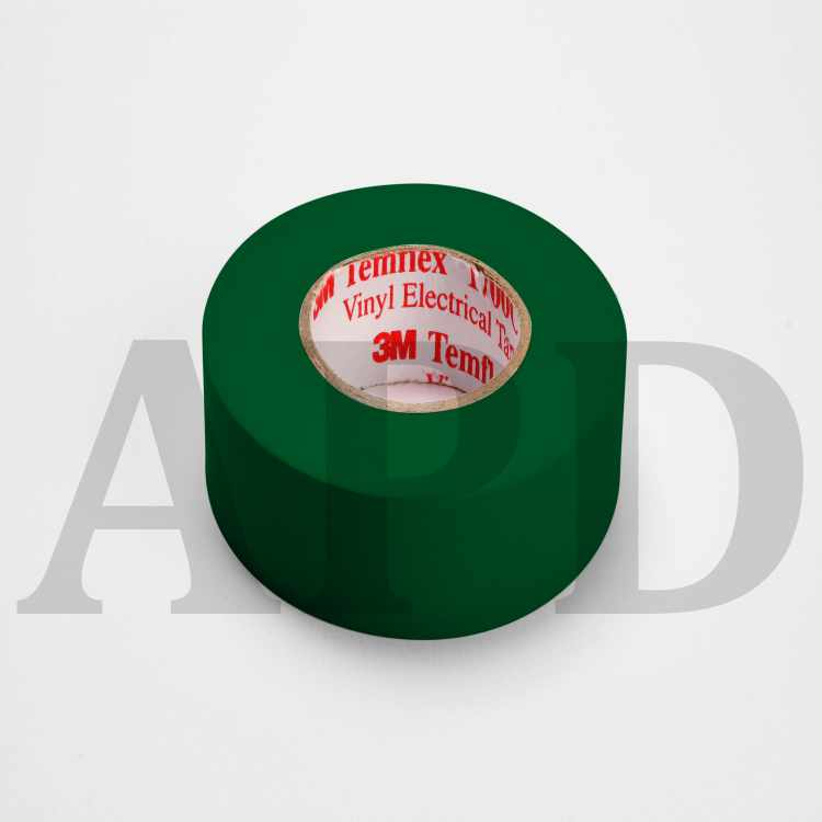3M Temflex Vinyl Electrical Tape 1700C, 3/4 in x 66 ft, 1-1/2 in Core,  Green, 10 rolls/carton, 100 rolls/Case