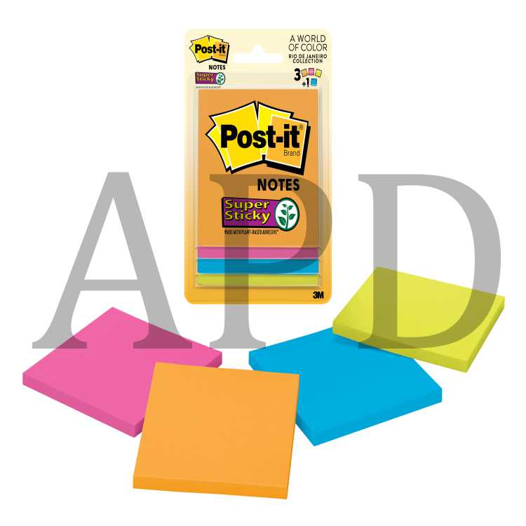 Post-it Super Sticky Notes, 3321-SSAU-B, 3 in x 3 in (76 mm x 76 mm), Rio  de Janeiro colors
