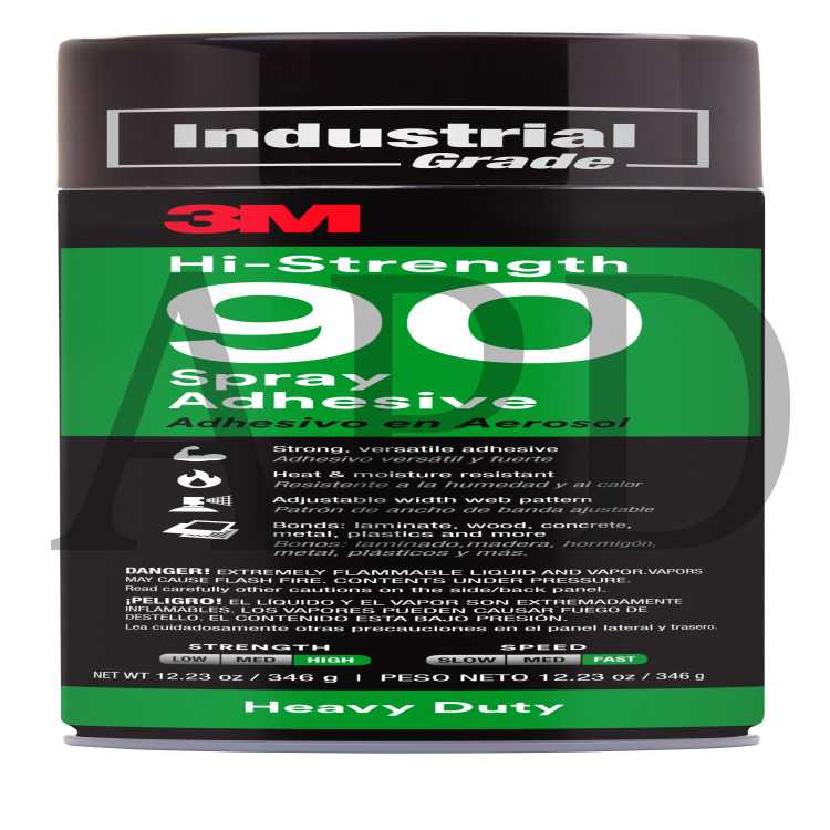 3M Hi-Strength 90 Spray Adhesive, Clear, Net Wt 12 23 oz, 12/case, NOT FOR  SALE OR USE IN CA, CONSULT LOCAL REGS