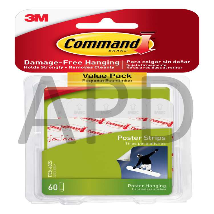 17024-60ES - New 60-Strips Small Command Poster Hanging Strips Value Pack White